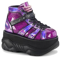 Demonia Neptune 100 Purple Glitter Laceup Boots Size 7 New Sold Out - $120.00