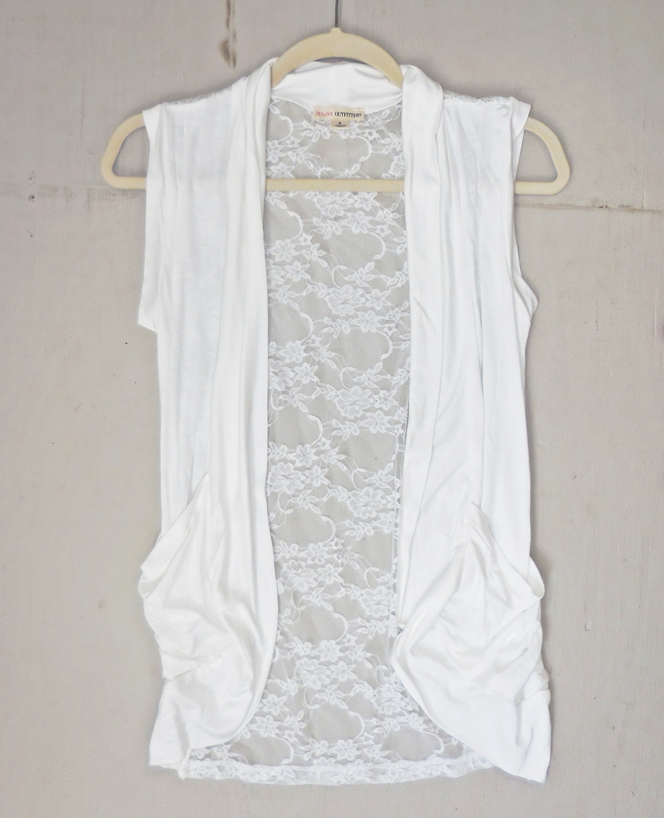 Ivory Rayon Lace Back Vest, Lightweight Rayon Layering, Ivory Open Front Vest