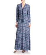 BCBGMAXAZRIA Womens Alicha Tie Neck Plaid Dress Blue L/S Bow Detail Plai... - $64.34