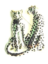 Vintage 2 LEOPARD CHEETAH Cat PIN Jaguar Brooch Panther Cougar OLD Stock - $15.15