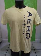 Aeropostale New York Short Sleeve T-Shirt Yellow Mens Large - $8.32