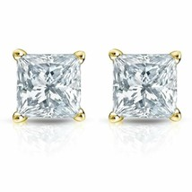 0.70CT Princess Cut Genuine F/VS2 Diamonds 14K Solid Yellow Gold Stud Ea... - $746.29