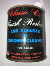 Classic Car Finish Restorer Car Cleaner & Chrome Cleaner Two Dollars Vintage TIN image 4