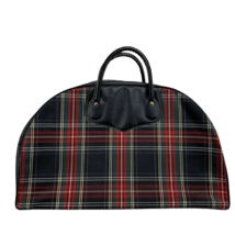 Vintage Retro Plaid Suitcase luggage Peter's Bag Corp Red Green Tarten Tote - $49.99