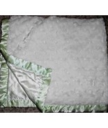 Blankets and Beyond White Furry Green Stripe Satin Backing Baby Blanket - $38.38