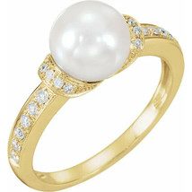 Accented Pearl Ring In 14K Yellow Gold (1/5 ct. tw.) - $650.49