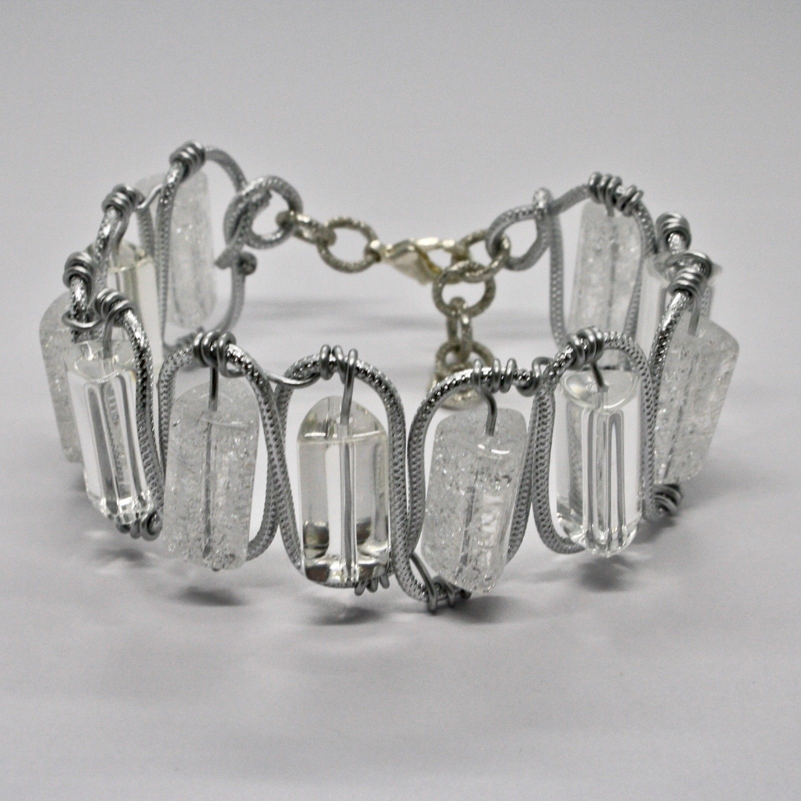 BRACELET THE ALUMINIUM RIGID WITH CRYSTAL CLEAR AND CRYSTAL CRACK
