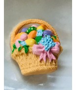 Estate Hallmark Cards Plastic Easter Basket with Colorful Eggs Pin Brooc... - $9.49