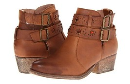 BETSEY JOHNSON Willow Tan Leather Rhinestone Bootie Boots Size 7.5 - £37.64 GBP