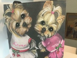TWO YORKIES PRINTED TOTE FROM ORIGINAL PAINTING ONLY ONE TO OFFER - $242.55