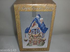 Ceramic Tea Light Candle Holder Blue Roof Spring Villa w/Hanging Flower Baskets - $13.98