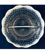 """Anchor Hocking Hobnail Moonstone Opalescent 7"""" Glass Divided Relish Dish - $12.50"""