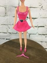 Barbie Doll Outfit Dress Hot Pink Silver Belt Pink Pumps Hanger #7 - $11.88