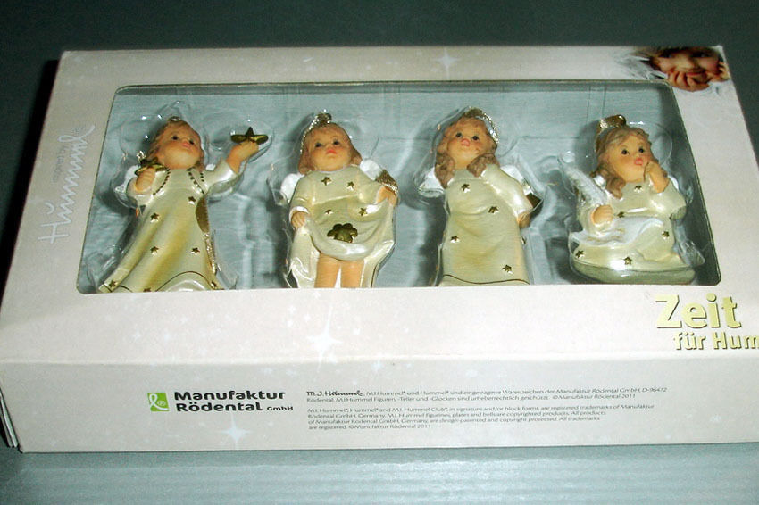 Goebel Angel Relief Ornaments Champagne, Set of 4 #828141 New Boxed