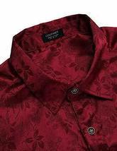 COOFANDY Men's Floral Long Sleeve Shiny Satin Silk Burgundy Dress Shirt - Large image 4