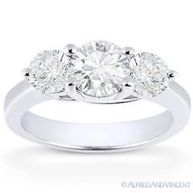 Forever Brilliant Round Cut Moissanite 3-Stone Engagement Ring in 14k White Gold - €723,08 EUR - €2.870,40 EUR