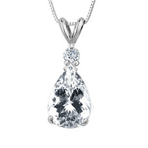 3.05CT 14K Solid White Gold W Topaz Pear Shape Basket Setting Pendant &C... - $34.64+
