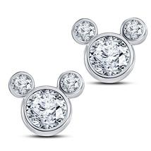 Round Sim Diamond 14k White Gold 925 Silver Women's Mickey Mouse Stud Earrings - $43.60