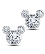 Round Sim Diamond 14k White Gold 925 Silver Women's Mickey Mouse Stud Ea... - $43.60