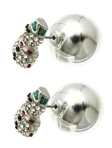 Bling Crystals Snowman Christmas Double Sided Ball Earrings (Silvertone)