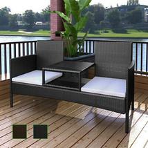 Patio Outdoor Garden Sofa w/ Tea Table 2-Seater Bench Poly Rattan Brown/... - $168.99