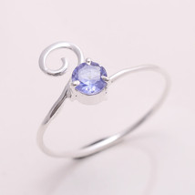 NATURAL TANZANITE 4 MM ROUND 925 STERLING SILVER 6.75 US RING TA112189 - £8.44 GBP