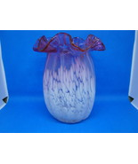 Fenton Glass white spatter to cranberry hand made vase. - $25.00