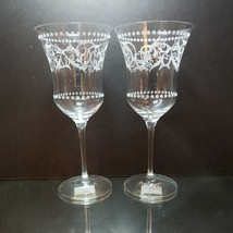 "2 (Two) MILLER ROGASKA FLORENTINE Crystal Water Goblets 8 3/4"" x 4"" NEW ... - $28.49"