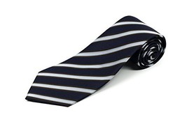 Extra Long Tie for Big and Tall Men – 100% Silk – Navy Blue and Brown Stripes –