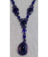 Necklace Avon Black Stones Blue Glass Beads Pewter Tone Vintage Lightweight - $12.82