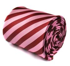 rosa e granata a righe cravatta nuziale da uomo da Frederick Thomas ft1524