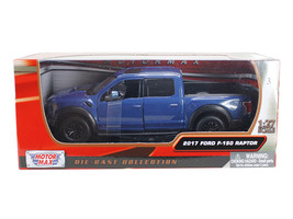 2017 Ford F-150 Raptor Pickup Truck Blue with Black Wheels 1/27 Diecast ... - $32.98