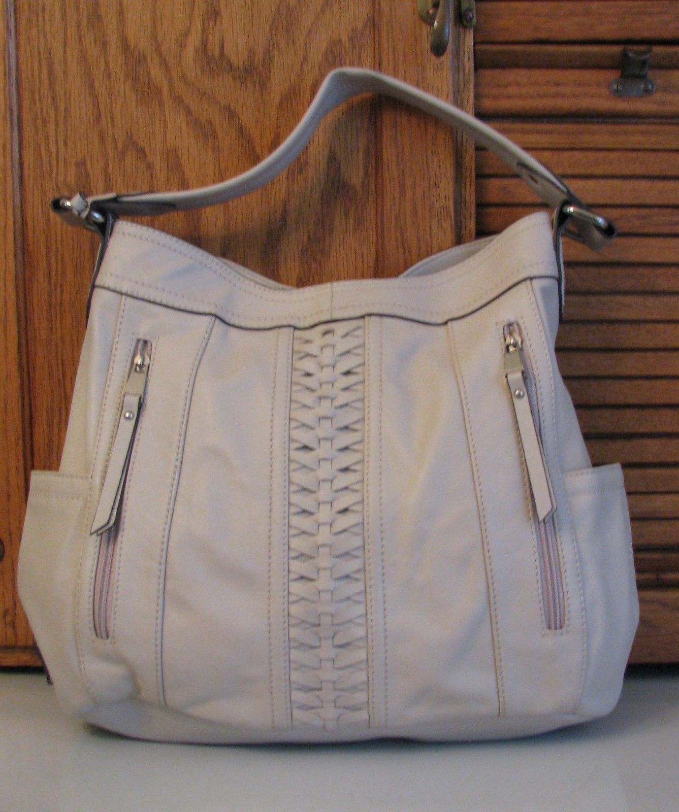 Tignanello Leather PURSE Bone Handbag Pocketbook Fancy Tote - $23.75