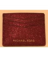 Michael Kors Porta Carte di Credito Glitter Rosso - $62.79