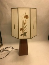 Table Lamp wood base parchment paper shade  WORKS  hand decorated table ... - €72,48 EUR