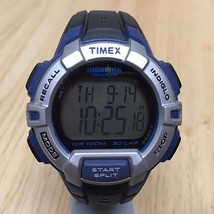 Timex Ironman Mens 100m Silver Blue Digital Alarm Chrono Watch Hours~New Battery - $21.36