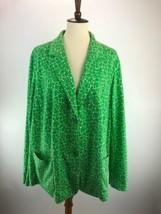 Talbots Womens Blazer 3X 26W Green Printed 2 Buttons Pockets B49-02Z - $14.44
