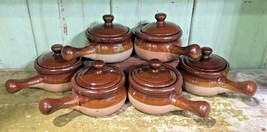 Set Of 6 Vintage French Onion Soup Crock Stoneware Bowls With Lids - $42.50