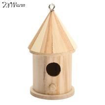Kiwarm Wooden DIY Bird House Birdhouse Hanging Nest Nesting Box Craft Fo... - $8.36