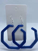 Blue shimmer hoop earrings - $5.50