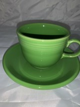 VINTAGE FIESTA Homer Laughlin Original Medium Green Ring Handle Cup And Saucer - $21.49