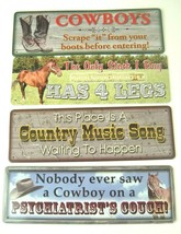 Funny Cowboy Metal Sign lot of 4 Country Western Horses Man Cave Humor - $15.83