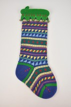 "Knit STOCKING Bells Green Multi-Color Striped 20"" Christmas Holiday Soft... - $17.62"