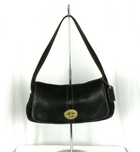 SALE!!  COACH #11254 Soft Black Leather Legacy Flap Bag Brushed Brass EUC! - $44.55