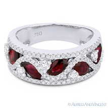 2.07ct Oval Cut Natural Oval Cut Red Ruby & Diamond Pave Ring in 18k White Gold - €2.654,39 EUR