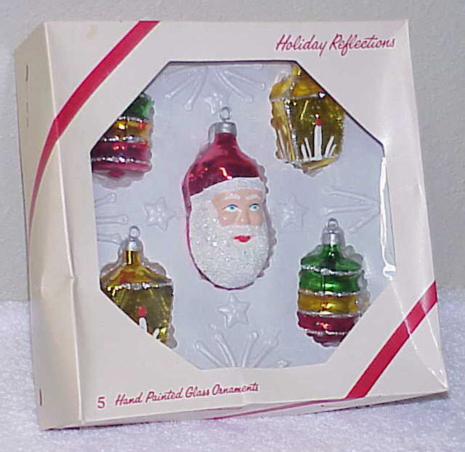 Primary image for Vintage Glass Christmas Ornaments NOS - Santa Face & 4 Lanterns IOB