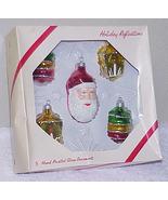 Vintage Glass Christmas Ornaments NOS - Santa Face & 4 Lanterns IOB - $10.00