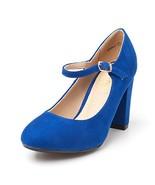 DREAM PAIRS Women's ROSALLI Royal Blue High Chunky Heel Pump Shoes - 6.5... - $19.03