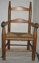Antique Vtg Solid Wooden Rush Seat Child Size Kids Childrens Ladderback ... - $70.29