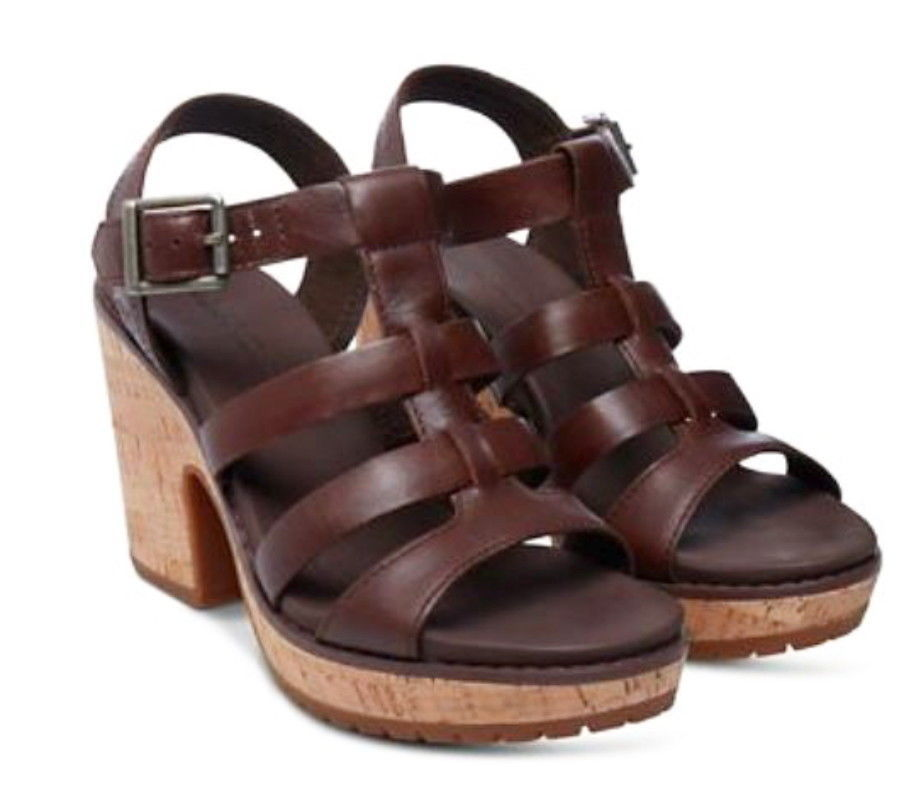 "Primary image for Timberland Roslyn Fisherman Sandals 9 1/2 Dark Brown 9.5 Leather + Cork 4"" Heel"